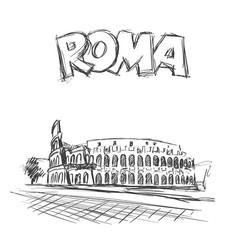 Roman coliseum sight in rome italy vector