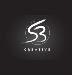 sb brush letter logo design artistic handwritten vector image