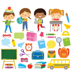 school kids and school supply vector image