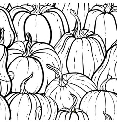 seamless pattern with pumpkin black and white vector image