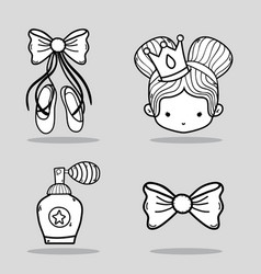 Set ballet accesories decoration design vector