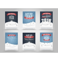 set christmas and new year flyers vector image