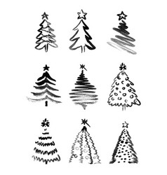 set hand sketches christmas trees vector image
