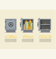 set security metal safe infographic vector image