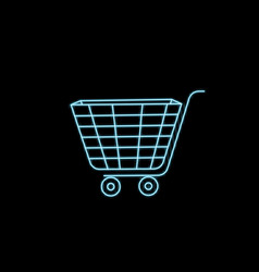 shopping cart icon flat design best neon icon vector image