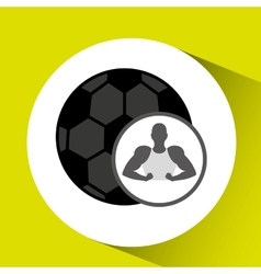 Silhouette man showing muscle with ball soccer vector