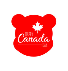 silhouette of a bear head canada day vector image