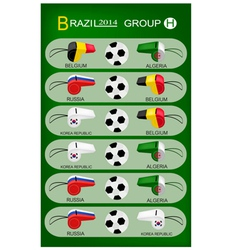 Soccer Tournament of Brazil 2014 Group H vector image