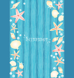 Starfish seashell and pearl on blue wood frame vector
