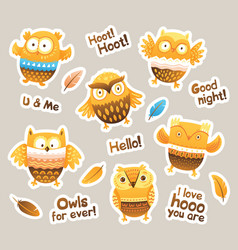 stickers designs with birds and messages funny vector image