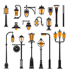 Street lamps and lamp posts icons vector