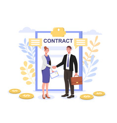 Successful partnership contract agreement concepts vector