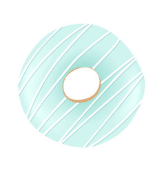 Sweet blue donut with striped icing and sprinkles vector