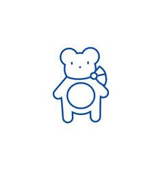teddy bear line icon concept teddy bear flat vector image