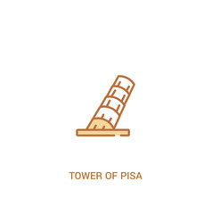 Tower pisa concept 2 colored icon simple line vector