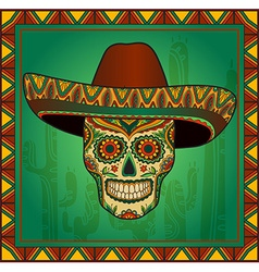 Traditional mexican scull with sombrero vector image