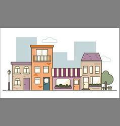 urban landscape in flat line design isolated vector image