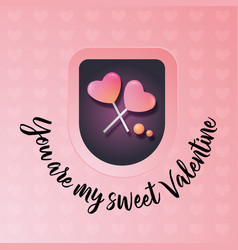 valentines day greeting card heart from candy vector image