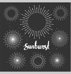 Vintage sunburst collection Chalk elements Hipster vector