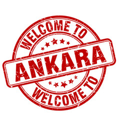 Welcome to ankara red round vintage stamp vector