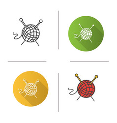 wool clew with knitting needles icon vector image