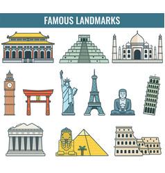 world landmarks travel and tourism vector image