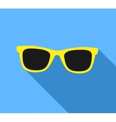 Yellow Sunglasses icon with long shadow Flat vector