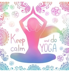 Yoga girl with pattern vector