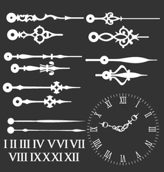 Clock face with variations of clock hands vector