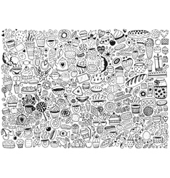 Doodle swith pattern with cupcakes vector image