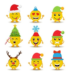 Holiday emoji icon set for christmas and new year vector