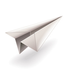 paper airplane isolated on white vector image vector image