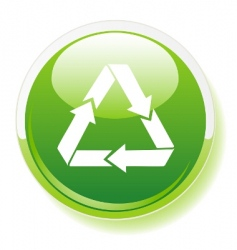 recycling symbol on green button vector image vector image