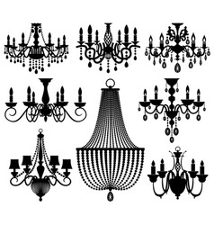 vintage crystal chandeliers silhouettes vector image