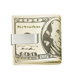 Cash folded in a money clip vector image vector image