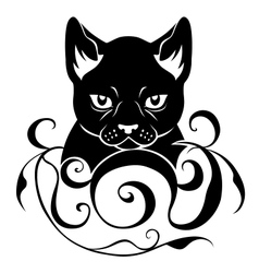 Cat face decoration vector