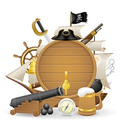 pirate concept icons 03 vector image