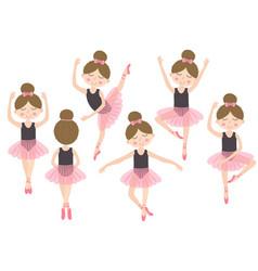 set of isolated cute ballerina girl vector image