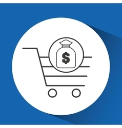 e-commerce cart shop bag money icon vector image