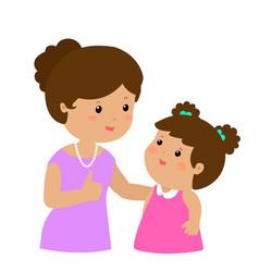 mother admire daughter character cartoon xa vector image