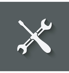 screw driver and wrench symbol vector image vector image