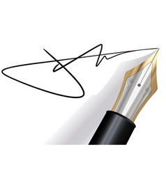signing with a fountain pen vector image vector image