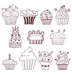 Sketchy set of hand drawn cupcakes vector image