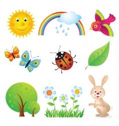 cartoon summer set vector image vector image