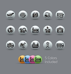 Industry and logistics Icons Pearly Series vector image