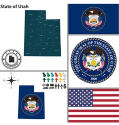Map of Utah with seal vector image
