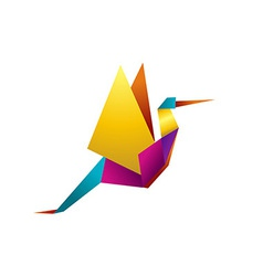 Vibrant colors origami stork vector image