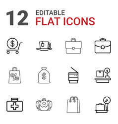 12 bag icons vector