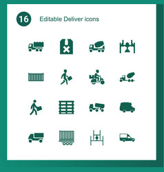 16 deliver icons vector image