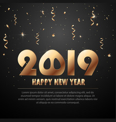 2019 new year black background with gold vector